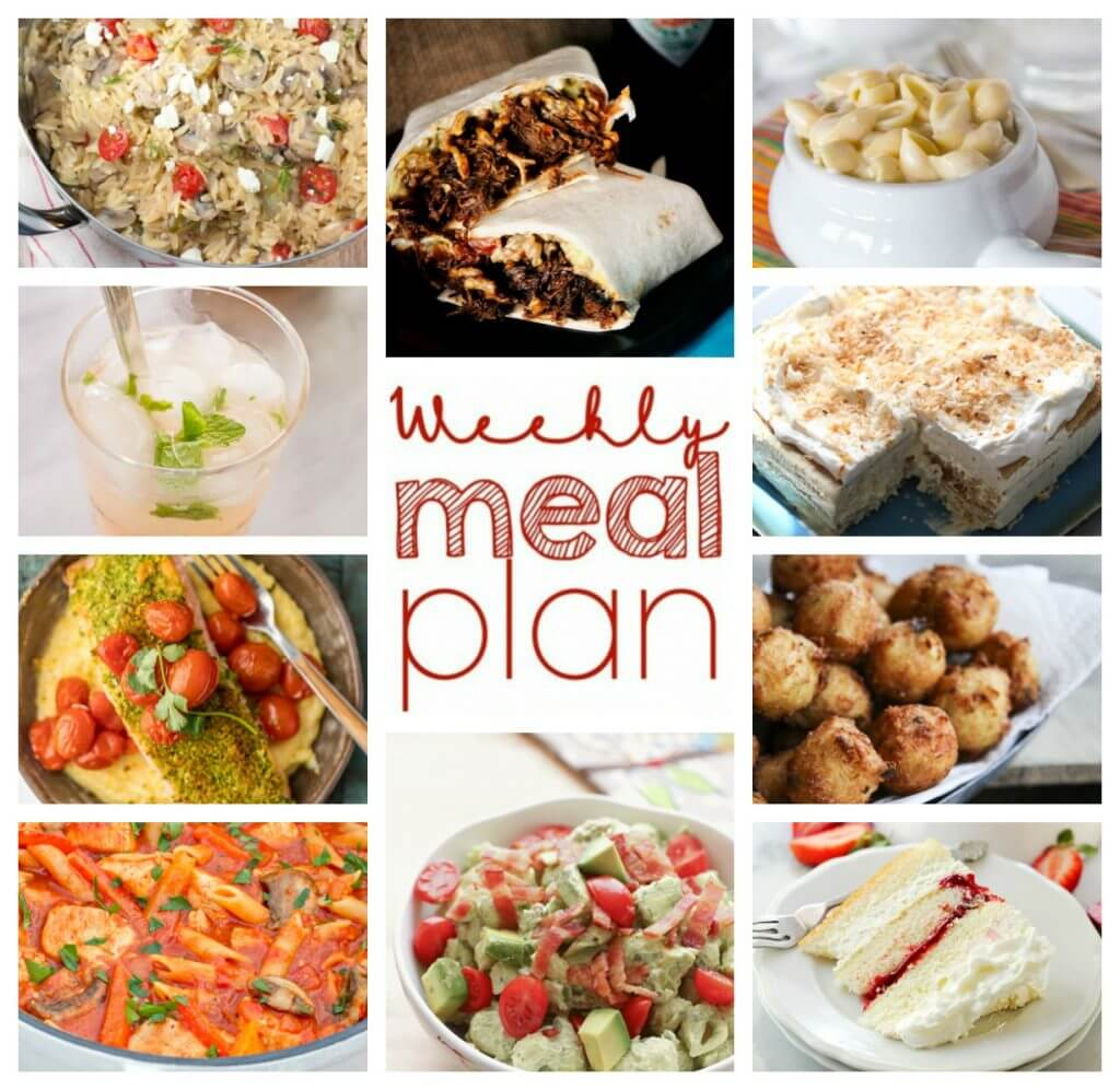 Weekly Meal Plan Week 36 - 10 great bloggers bringing you a full week of recipes including dinner, sides dishes, and desserts!