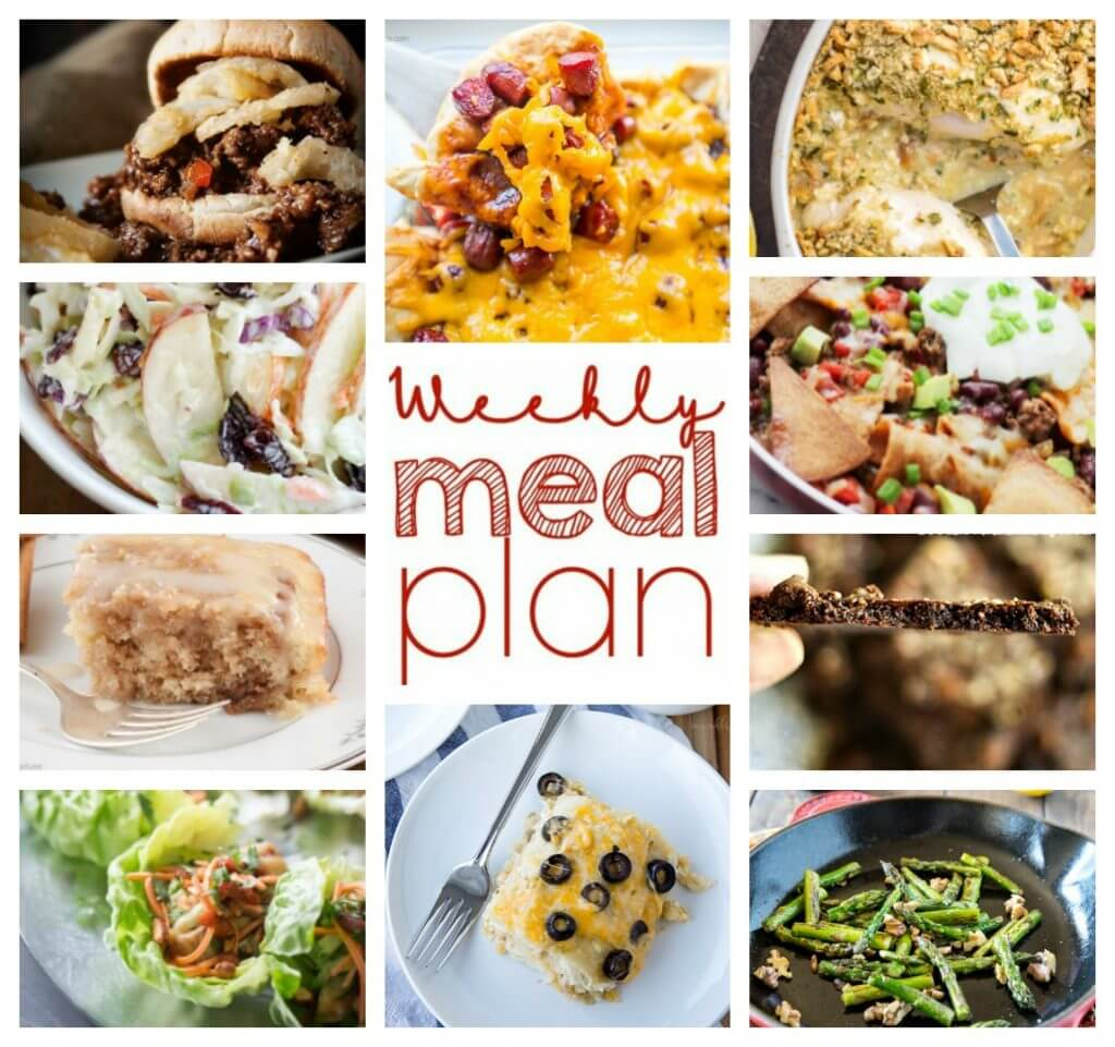 Weekly Meal Plan Week 39 - 10 great bloggers bringing you a full week of recipes including dinner, sides dishes, and desserts!