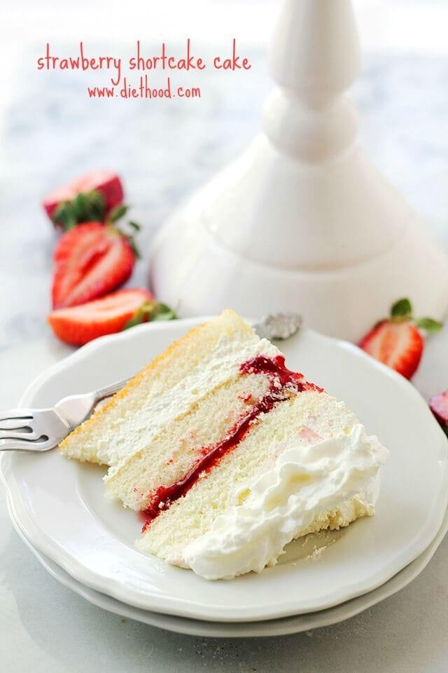 Strawberry Shortcake Cake {Diethood}
