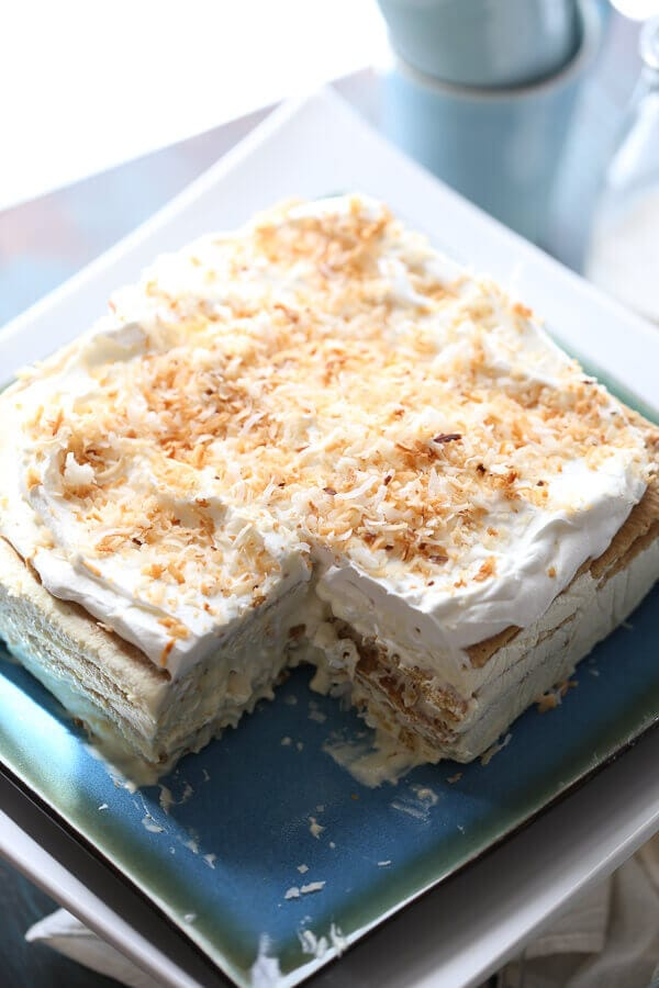 Vanilla Coconut Ice Box Cake {Lemons for Lulu}