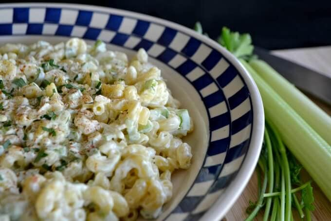Basic Macaroni Salad in a serving bowl with a blue and white checked rim