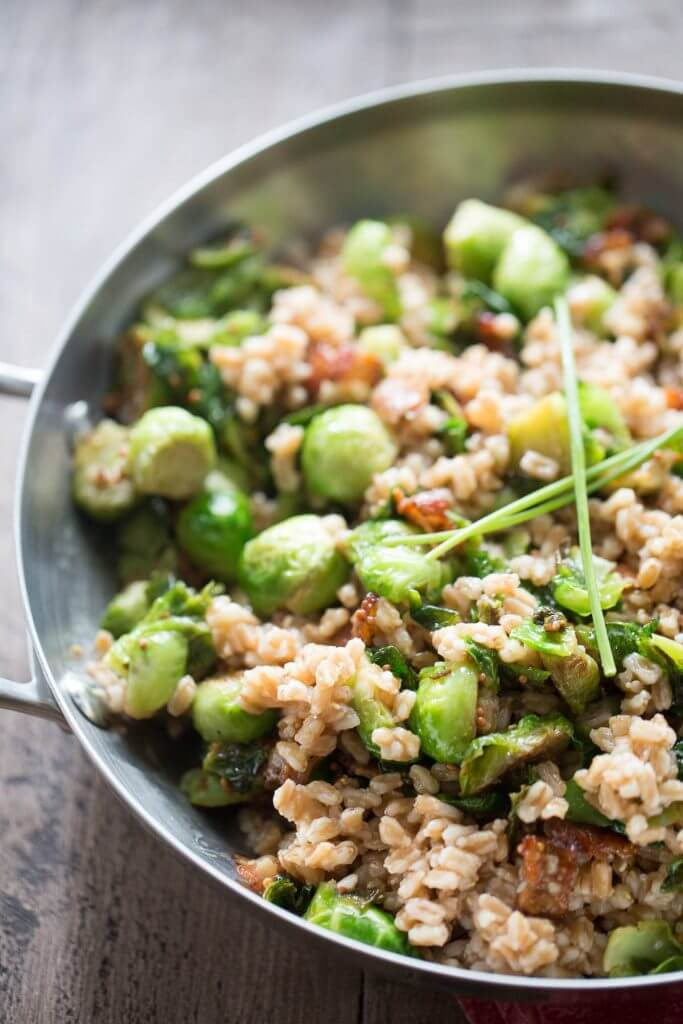 Farro with Brussels Sprouts and Bacon {Lemons for Lulu}