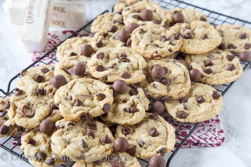 malt chocolate chip whopper cookies in a pan