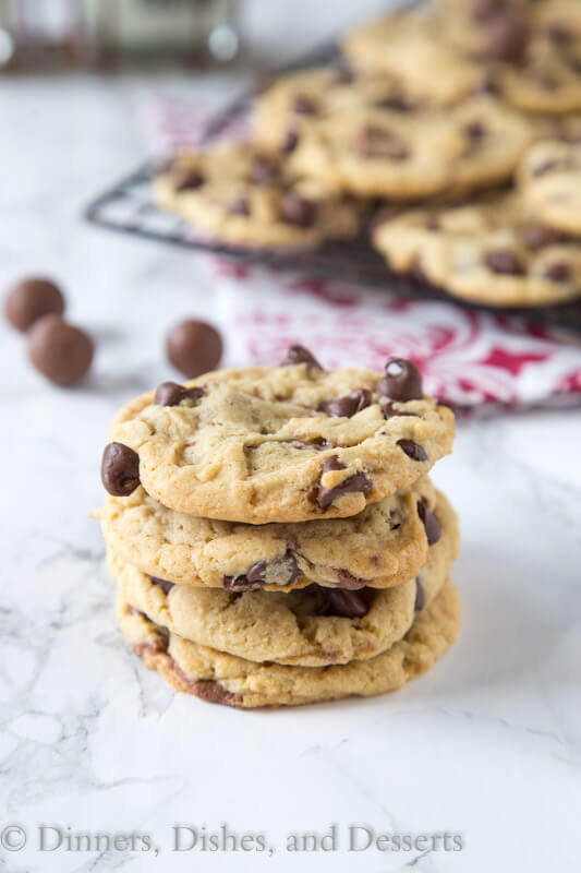 malt chocolate chip whopper cookies on a napkin