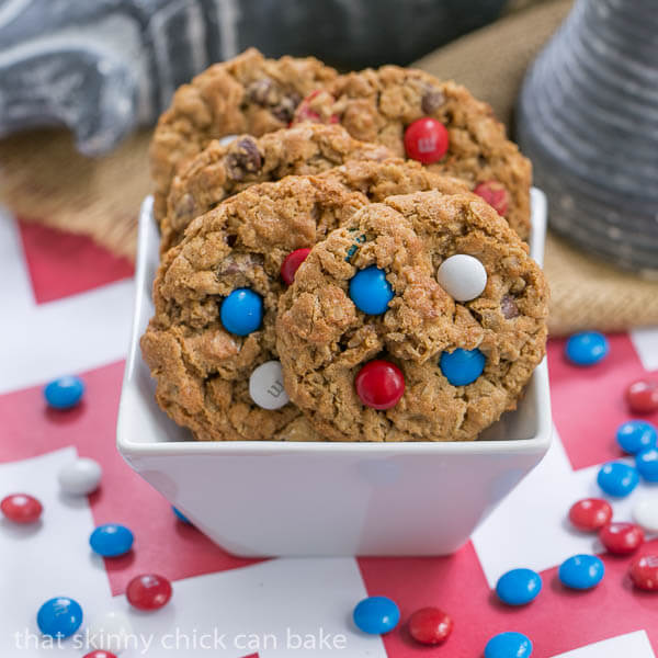 Patriotic Monster Cookies in a square white bowl