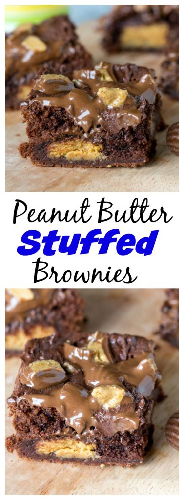 Peanut Butter Stuffed Brownies - rich, fudge brownies that are stuffed with peanut butter cups, topped with melted chocolate and more peanut butter cups!