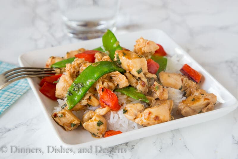 Spicy Basil Chicken - get dinner on the table in just minutes with the super easy chicken recipe.  Great Asian flavors with just a little kick.  Add veggies to make it a complete meal!