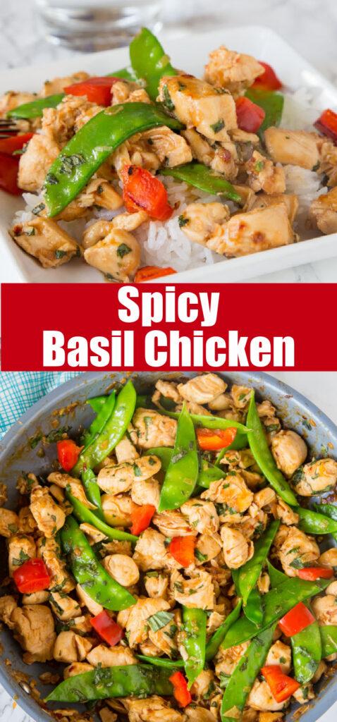 thai basil chciken close up with veggies