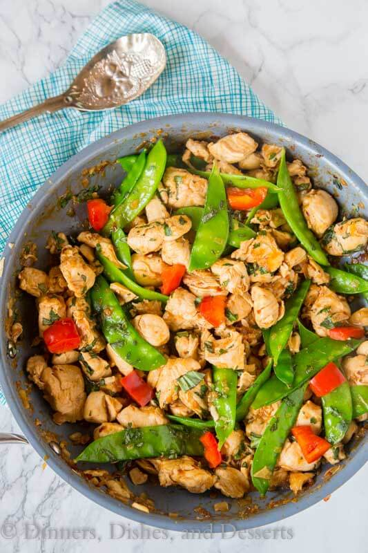 spicy basil chicken in a pan