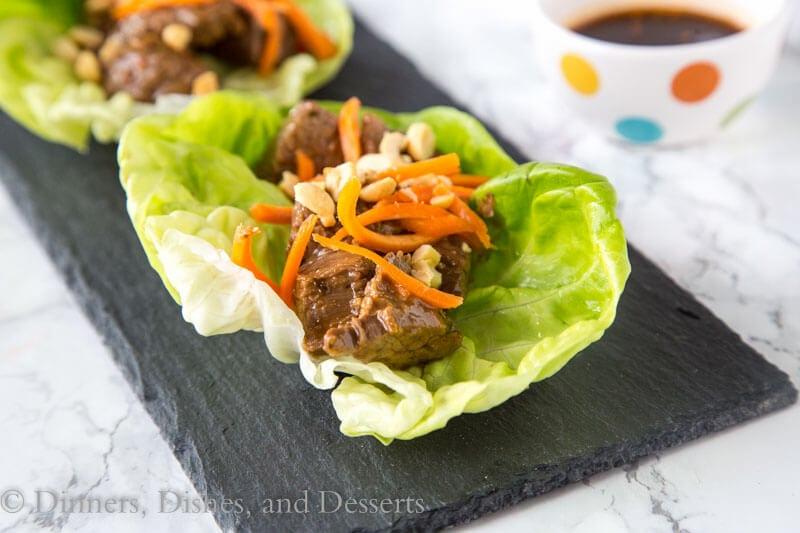 thai steak bites on a plate
