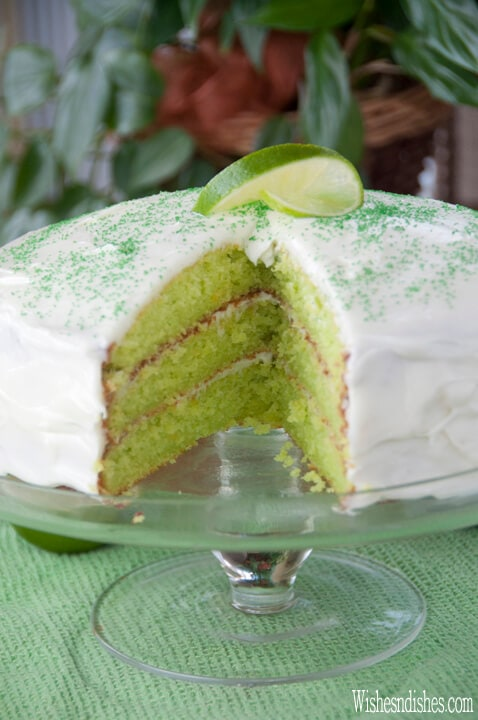 Triple Layer Key Lime Cake {Wishes and Dishes}