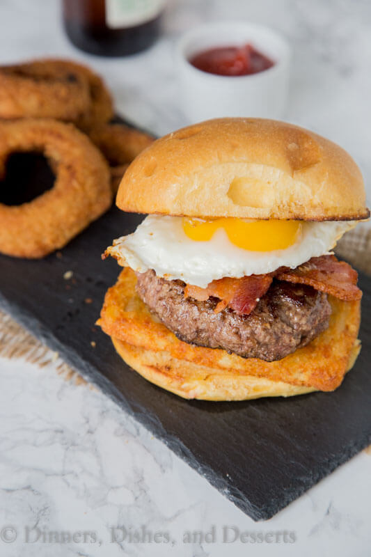 breakfast burger on a plate