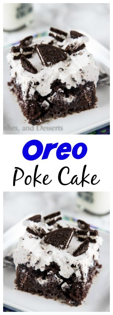 Oreo Poke Cake - An easy chocolate cake topped with an Oreo pudding and whipped cream mixture.  Light, creamy, and so good!