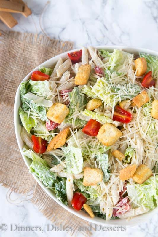 caeser pasta salad in a bowl
