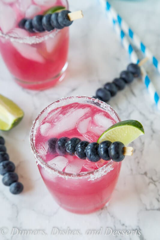 Blueberry Margaritas - fresh blueberries and mint make for a refreshing a delicious margarita. So easy to make, and such a great color!