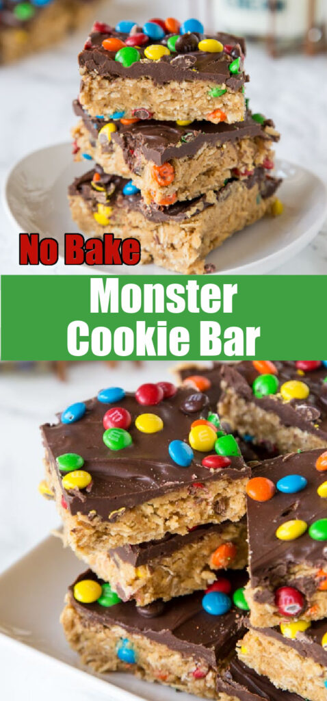 up close stack of monster cookie bars