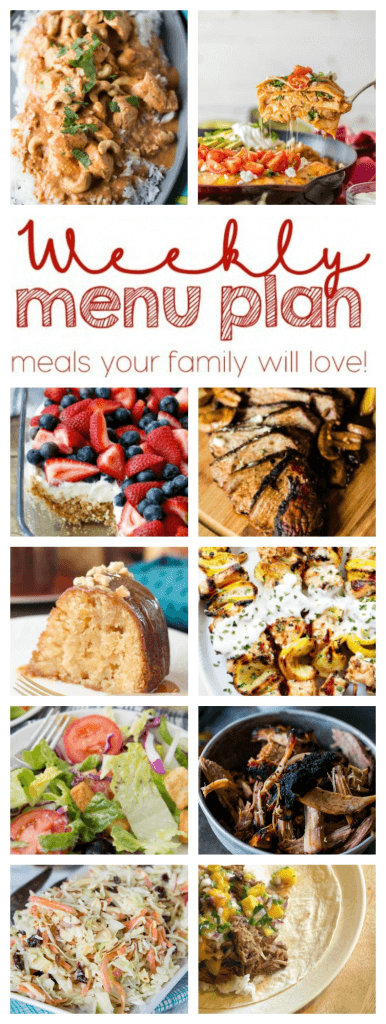 Weekly Meal Plan Week 54 – 10 great bloggers bringing you a full week of recipes including dinner, sides dishes, and desserts!