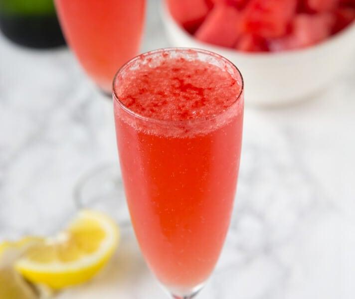watermelon bellini in a cup
