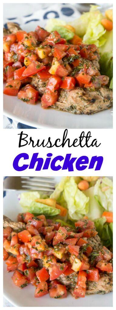 close up of bruschetta chicken on a plate
