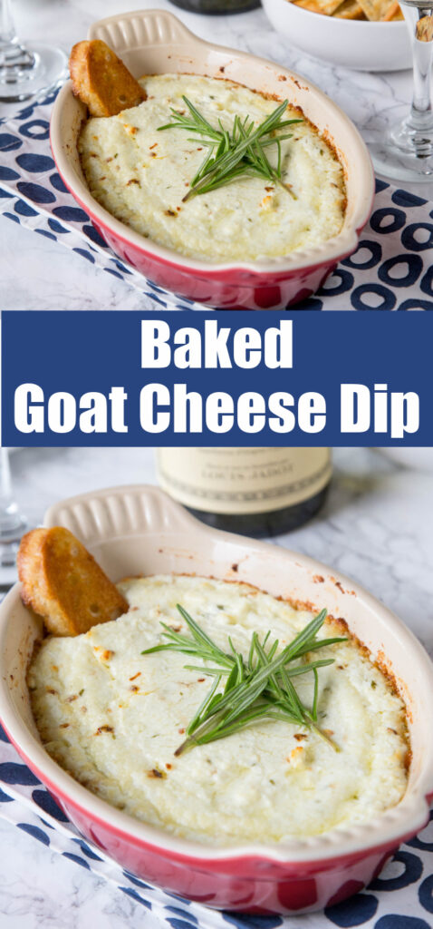 baked goat cheese dip with a bottle of wine
