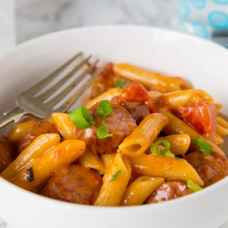 One Pan Cheesy Sausage Pasta
