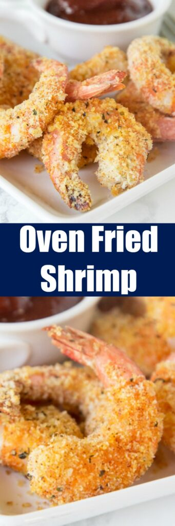 "Oven Fried Shrimp - make super crispy shrimp that is baked, not fried, and actually good for you! Your family is goign to love this batter ""fried"" shrimp!"