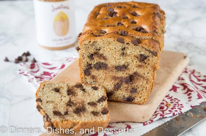 peanut butter chocolate chip bread on a board
