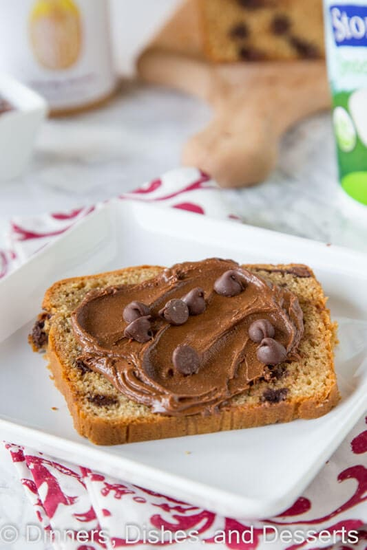 peanut butter chocolate chip bread on a plate