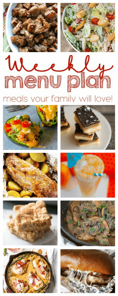 Weekly Meal Plan Week 30 – 10 great bloggers bringing you a full week of recipes including dinner, sides dishes, and desserts!