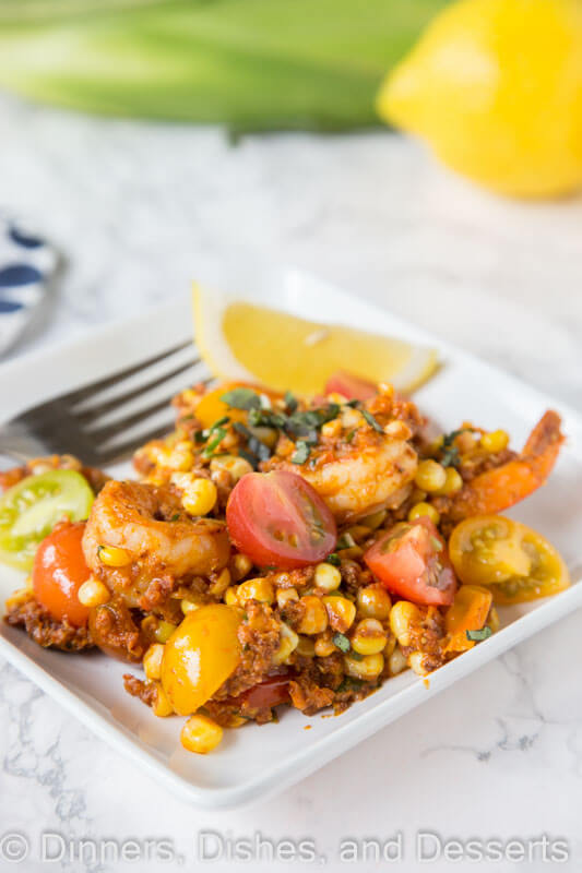 Shrimp, Chorizo, and Corn Salad - fresh corn and tomatoes make this salad bright and flavorful, and the chorizo adds just the right amount of heat.