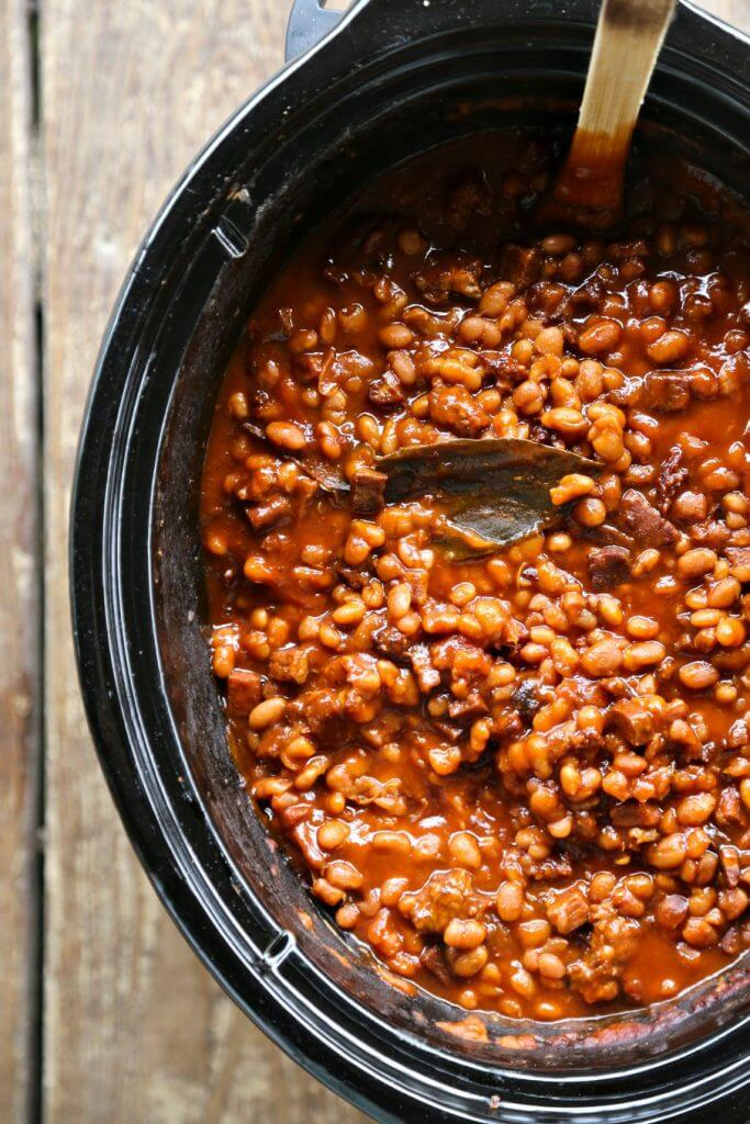 Slow Cooker Breakfast Baked Beans {Foodie with Family}