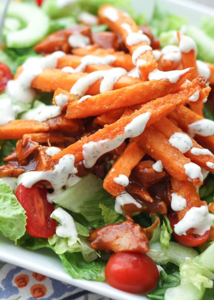 BBQ Chicken Salad with Sweet Potato Fries {Barefeet in the Kitchen}