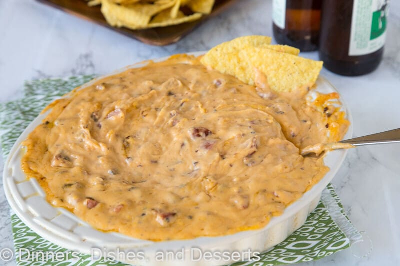 Cheddar Brat Cheese Dip - a warm, gooey cheese dip made with cheddar brats for so much extra flavor! Game day just got better!