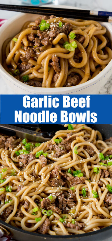 close up of garlic beef noodle bowls in a bowl with chop sticks