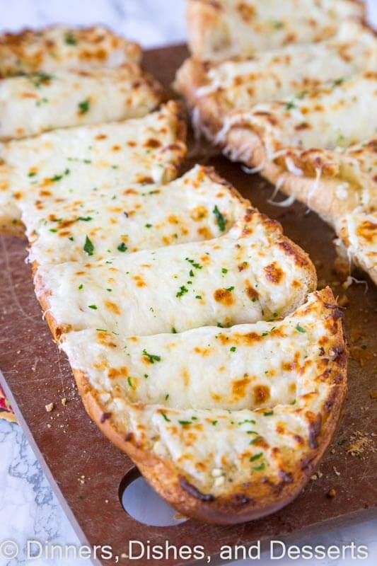 garlic cheese bread on a plate