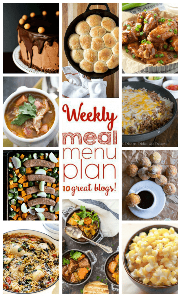 Weekly Meal Plan Week 65 – 10 great bloggers bringing you a full week of recipes including dinner, sides dishes, and desserts!