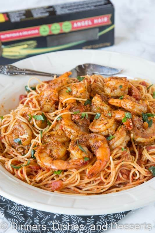 blackened shrimp pasta on a plate