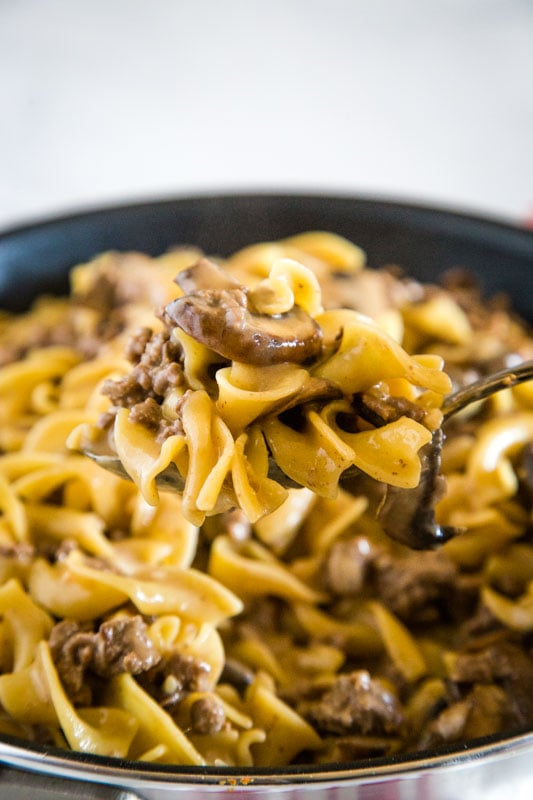 Easy hamburger stroganoff that is ready in minutes, made in one pan and great for busy weeknights