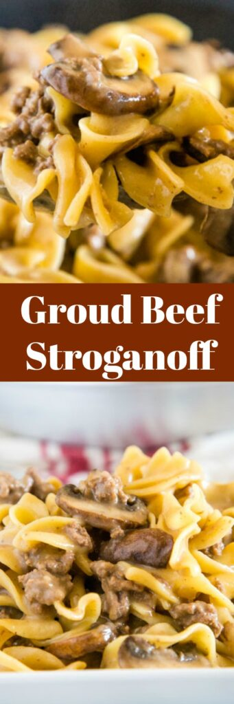 Easy Ground Beef Stroganoff Recipe - this super easy beef stroganoff recipe uses ground beef to make it quick, easy, and budget friendly. It comes together with mushrooms in a delicious and creamy sauce.