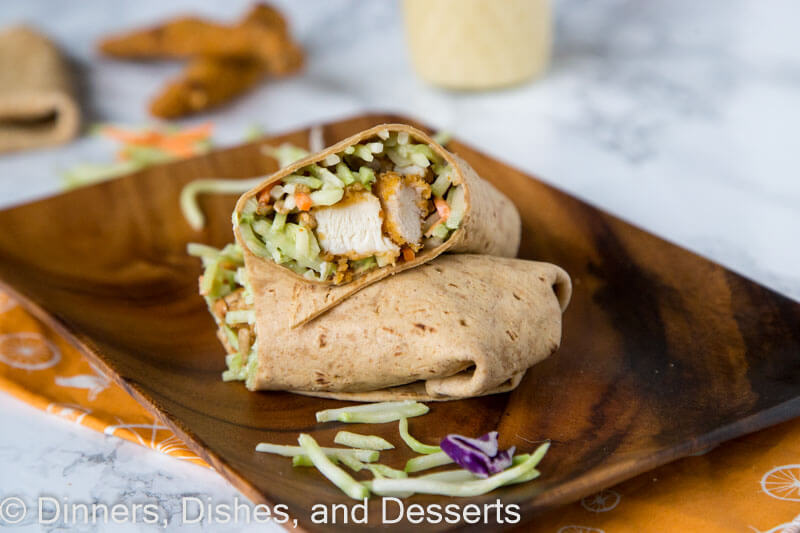 honey sesame chicken wraps on a plate