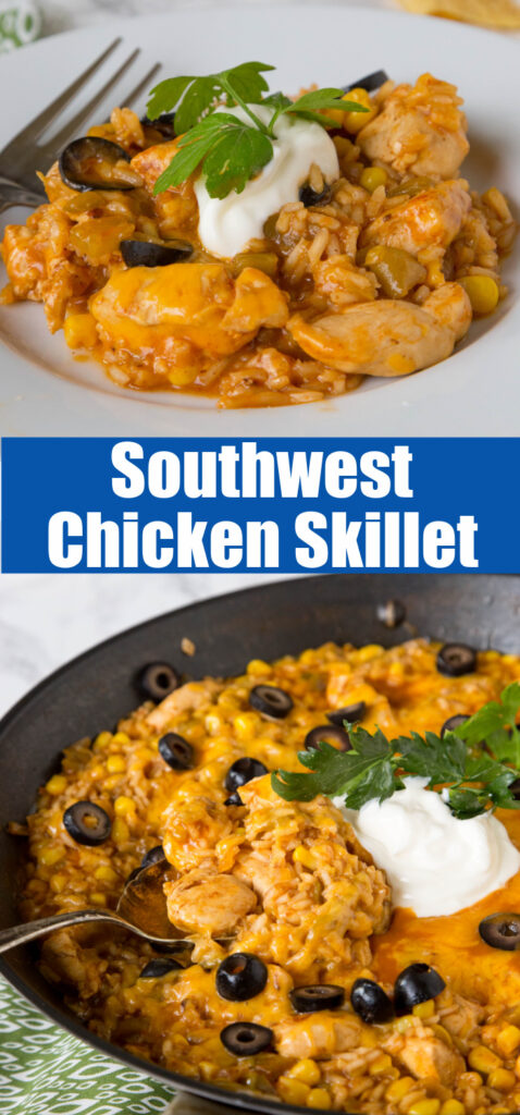 mexican chicken an rice in a skillet