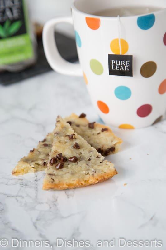 chocolate shortbread with pure leaf tea