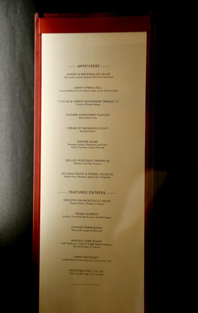 Pride Of America Liberty Dining Room Menu