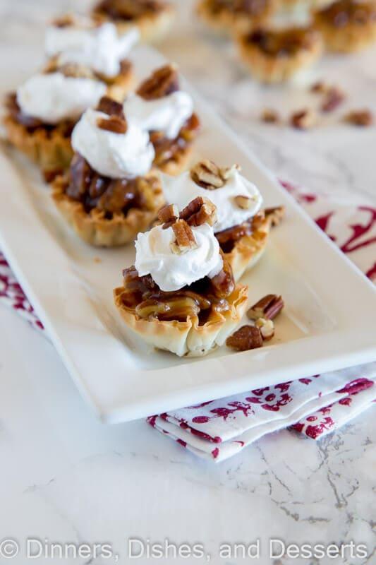 mini pecan pie bites on a plate