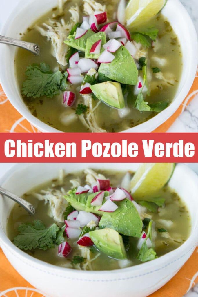 up close chicken pozole verde