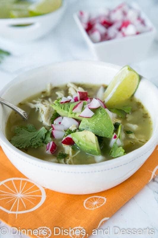 verde chicken pozole in a bowl