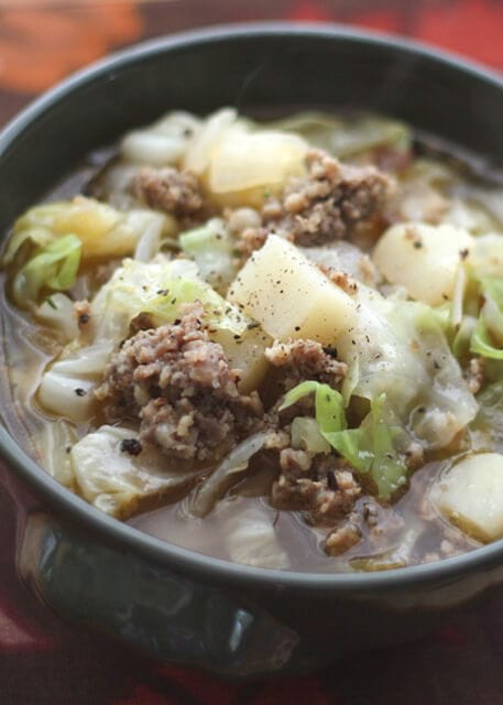 Cabbage Potato and Sausage Soup {Barefeet in the Kitchen}
