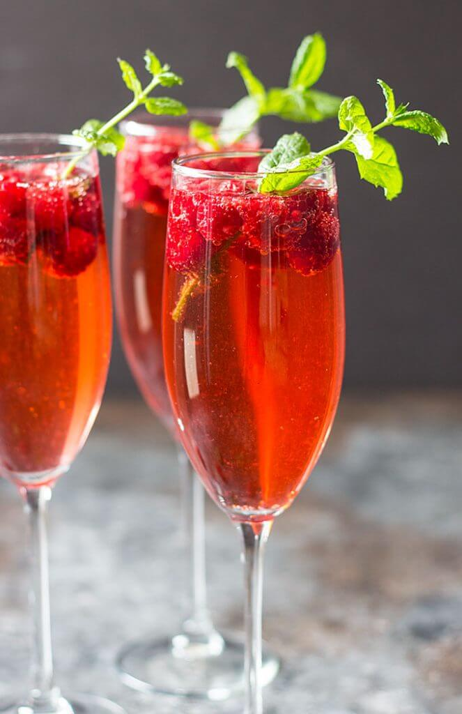 Raspberry Champagne Rum Punch {The Blond Cook}