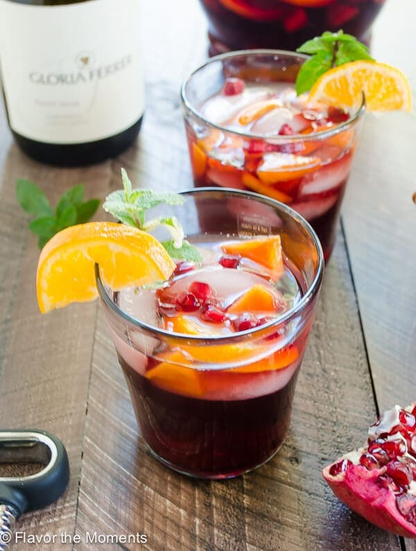Red Sangria with Orange Persimmon and Pomegranate {The Flavor Moments}