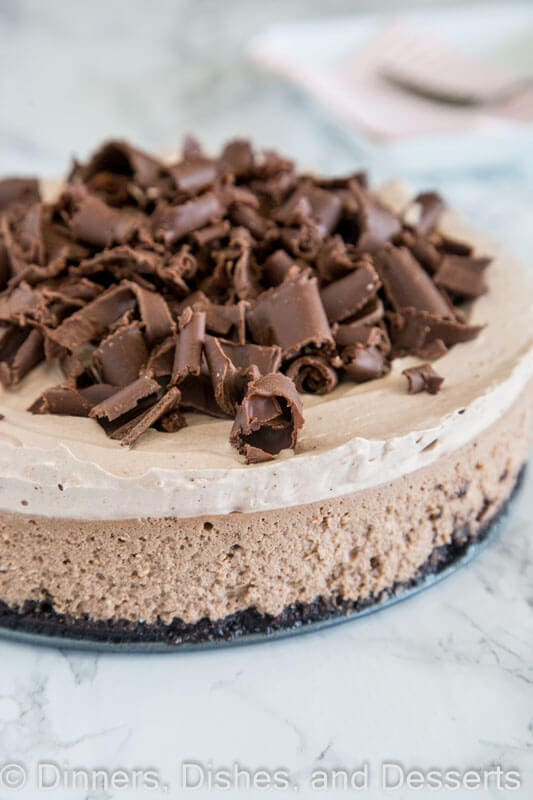 Baileys chocolate cheesecake in a pan